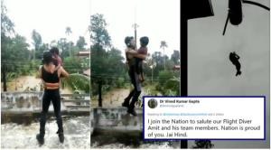 Video of Indian Navy man saving child in Kerala F...