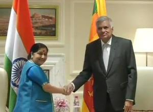 Sushma Swaraj calls on Sri Lankan PM