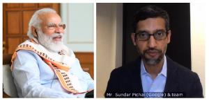PM Narendra Modi interacts with Google CEO Sundar...