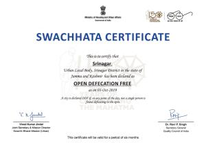 Srinagar declared Open Defecation Free