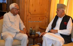 Dr Farooq Abdullah meets Governor