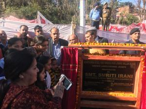 Smriti Irani inaugurates footbridge, laid foundat...