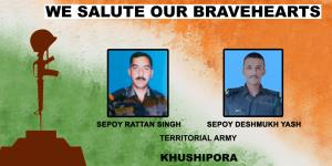 Chinar Corps pay tributes to two soldiers martyre...