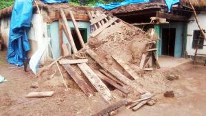 Mud house collapses due to heavy rain