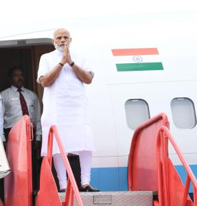 PM Modi arrives in Odisha, meets Anganwadi workers