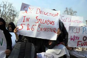 Undergraduate students stage protest in Srinagar,...