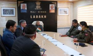 LG Mathur discusses situation of COVID-19 in Lada...