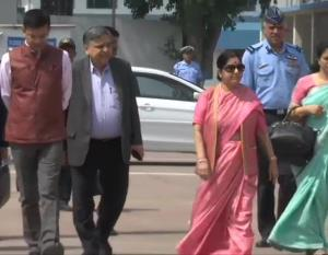 Swaraj leaves for Kyrgyzstan to participate in SC...