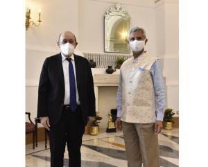 EAM Jaishankar meets French Foreign Minister Le D...