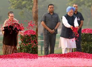 Sonia Gandhi, Manmohan Singh pay tribute to Indir...