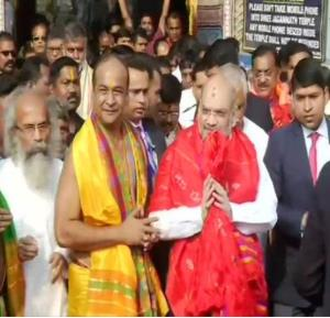 Amit Shah arrives at Jagannath Temple in Puri to ...