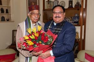 BJP president J P Nadda meets veteran leaders L K...