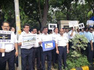 Jet Airways employees stage protest in Delhi