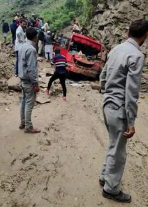 5 killed, 9 injured as landslide hits mini bus in...