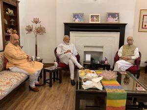 PM Modi, Amit Shah meet LK Advani