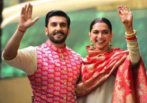 Newlyweds Deepika-Ranveer arrive in India