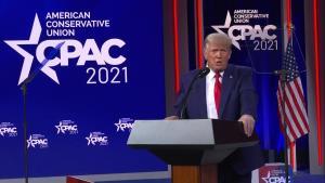 In 1st public speech after office, Trump raises c...