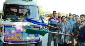 DEO Samba flags off mobile exhibition van for Vot...