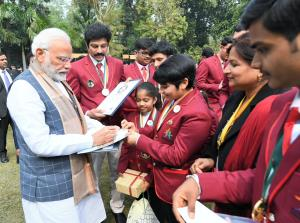 PM interacts with winners of Rashtriya Bal Purask...
