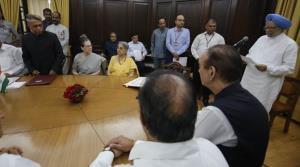 Former PM Manmohan Singh takes oath as Rajya Sabh...