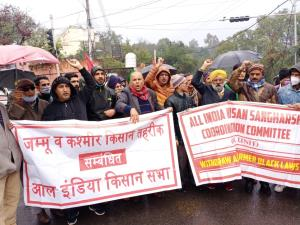 Protest outside Raj Bhawan in Jammu in support of...