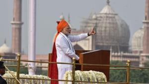 PM sports saffron headgear during I-Day address