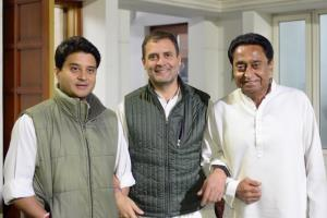 Rahul tweets pic with Kamal Nath, Scindia as race...