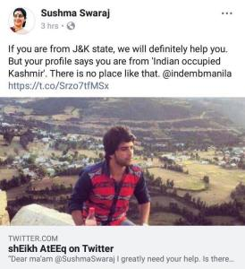 Student 'from Indian Occupied Kashmir' asks Sushm...