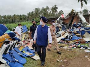 Hardeep Singh Puri visits plane crash site at Koz...