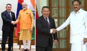 Mongolian President meets VP Naidu, PM Modi