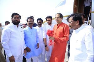 Uddhav Thackeray, son Aditya arrive in Ayodhya
