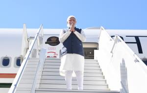 PM Modi returns to New Delhi after concluding thr...
