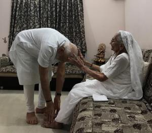 PM Modi meets mother, seeks blessings after spect...
