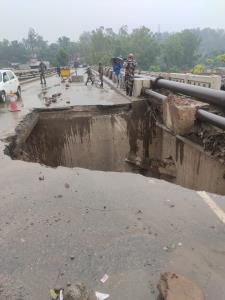 Heavy rains damage bridge in Udhampur